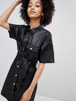 Bershka Button Front Leather Look Mini Dress