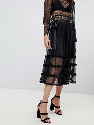 To Be Adored Joy Ruffle Mesh Midi Skirt