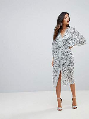 ASOS Embellished Sequin Kimono Midi Dress - Ice grey