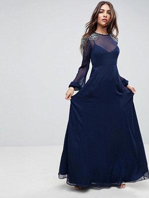 ASOS Sheer Sleeve Maxi Dress with Embellished Shoulder Detail