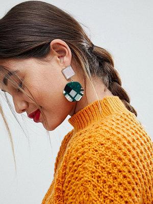 ASOS örhängen Square Jewel and Resin Disc Earrings