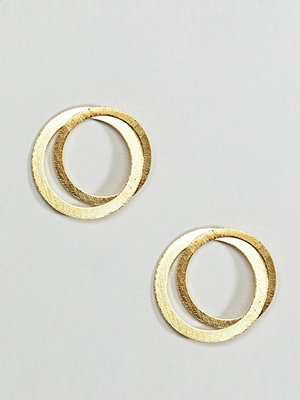 ASOS örhängen DESIGN Gold plated sterling silver satin finish interlocking circle earrings