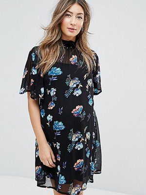 ASOS Maternity PETITE Floral High Neck Mini Dress