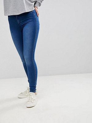 Only Jeans med hög midja och extra smal passform Mellanblå