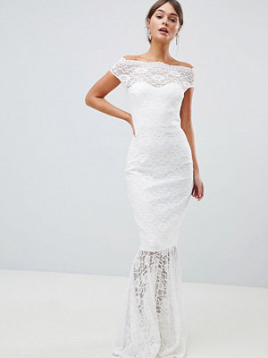 City Goddess Bardot Lace Fishtail Maxi Dress