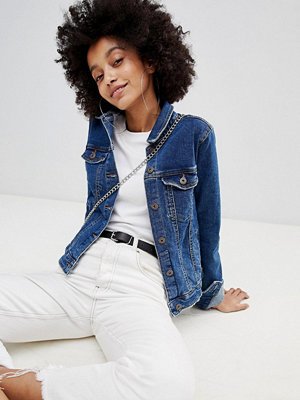 Bershka minimal denim jacket in mid blue - Mid blue