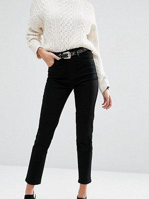 ASOS DESIGN Farleigh high waist slim mom jeans in clean black