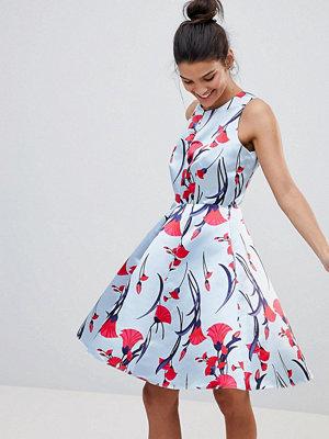 Closet London Premium Prom Sateen Skater Dress In Floral Fan Print