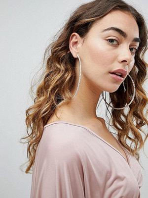 DesignB London örhängen XL Rhinestone Statement Hoop Earrings