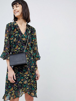 Selected Floral Wrap Dress With Ruffles