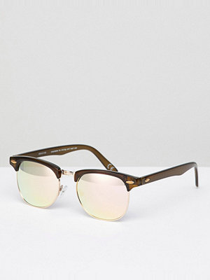 ASOS DESIGN Retro Sunglasses In Crystal Brown With Rose Gold Lens