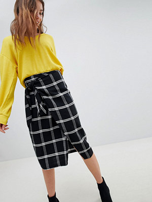 Bershka Check Wrap Midi Skirt With Tie Waist