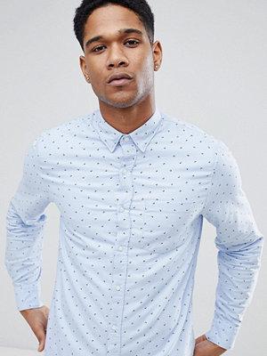 Skjortor - Stradivarius Slim Fit Printed Shirt In Light Blue
