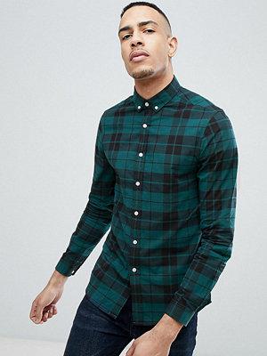 Skjortor - ASOS DESIGN Tall stretch slim poplin check shirt in green