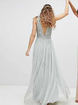 Maya Sleeveless Sequin Bodice Tulle Detail Maxi Bridesmaid Dress With Cutout Back - Green lily