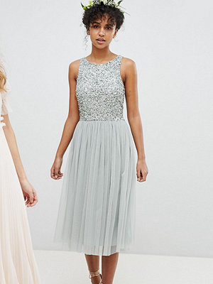Maya Sleeveless Sequin Bodice Tulle Detail Midi Bridesmaid Dress With Cutout Back - Green lily