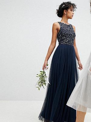 Maya Sleeveless Sequin Bodice Tulle Detail Maxi Bridesmaid Dress With Cutout Back