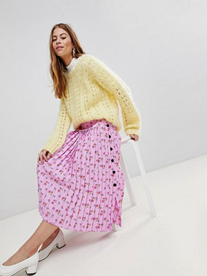 ASOS Pleated Midaxi Skirt in Floral Print with Side Buttons