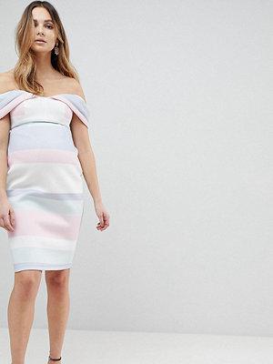 ASOS Maternity Bardot Dip Back Pastel Stripe Pencil Dress