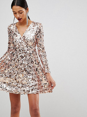 Club L Rose Gold Mini Disc Sequins Wrap Over Skater Dress - Rose gold