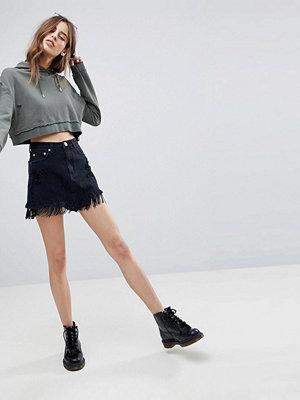 Signature 8 FESTIVAL Denim Skirt with Fringe Hem