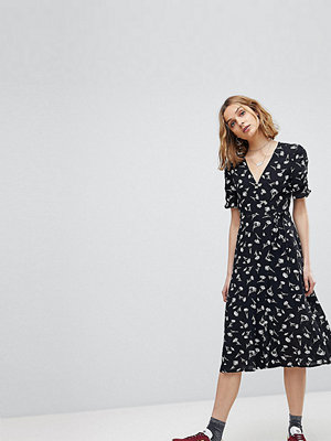 Reclaimed Vintage Inspired Floral Button Wrap Midi Dress