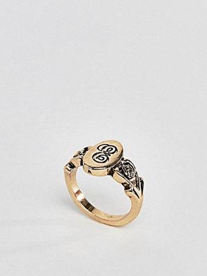 ASOS DESIGN ornate monogram 'E' initial ring