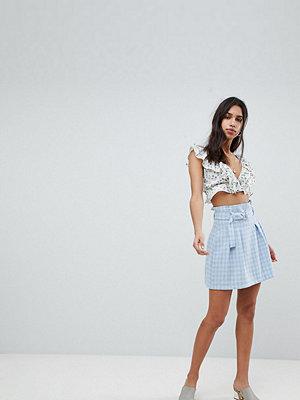 Reclaimed Vintage Inspired Check Paper Bag Waist Mini Skirt