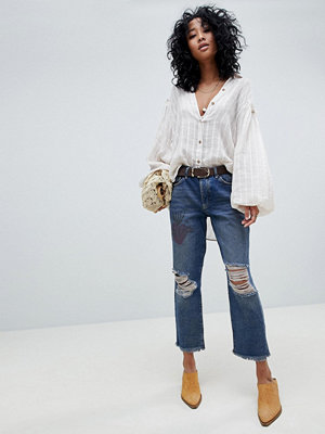 Free People Tattooed Slitna boyfriend-jeans
