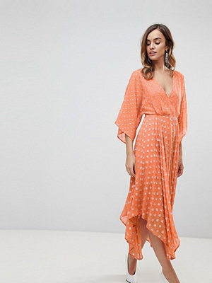 ASOS Flutter Sleeve Midi Dress with Hanky Hem in Glitter Spot