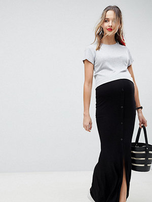 ASOS Maternity ASOS DESIGN Maternity Maxi Skirt With Button Front And Split Detail
