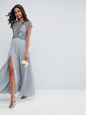 ASOS Bridemaid Delicate Beaded Bodice Maxi Dress - Soft grey