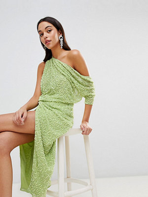 ASOS Edition One Shoulder All Over Sequin Midi Dress - Lime green