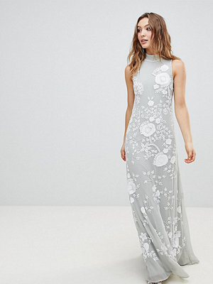 Frock and Frill Premium All Over Embellished High Neck Trophy Maxi Dress - Grey/white