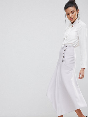 Asos Tall ASOS DESIGN Tall hanky hem midi skirt with side button detail