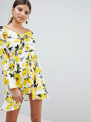 Boohoo Off Shoulder Lemon Print Dress