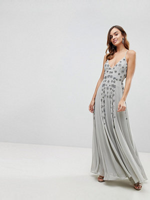 ASOS Cami Strap Maxi Dress with Cluster Embellishment - Soft grey