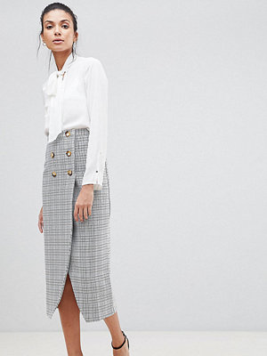 Asos Tall ASOS DESIGN Tall double breasted pencil skirt in check