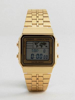 Casio Digital Map Watch In Gold A500WGA-1DF