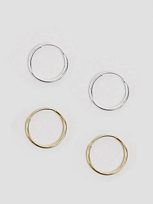 ASOS örhängen Pack of 2 Mixed Plated Sterling Silver 9mm Hoop Earrings
