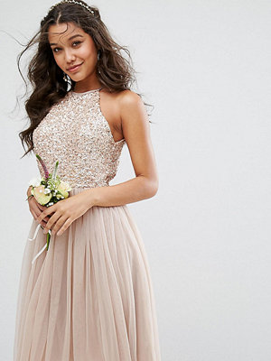 Maya High Neck Midi Tulle Dress With Tonal Delicate Sequins - Taupe blush