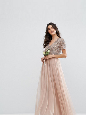 Maya V Neck Maxi Tulle Dress with Tonal Delicate Sequins - Taupe