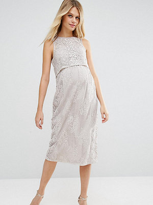 ASOS Maternity Double Layer Lace Column Dress - Lilac