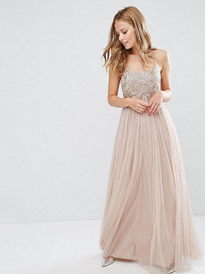 Maya Cami Strap Maxi Dress with Tulle Skirt and Embellishment - Mink