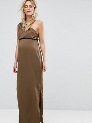 ASOS Maternity One Shoulder Drape Maxi Dress - Khaki