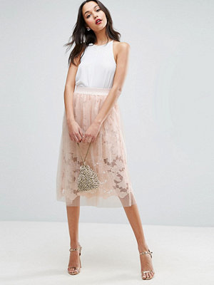 ASOS Lace Prom Skirt with Tulle Overlay - Nude