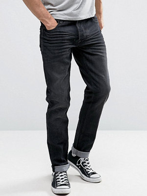 Solid Slim Fit Jeans In Washed Black With Stretch