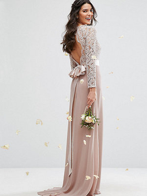 TFNC Lace Maxi Bridesmaid Dress With Bow Back - Mink