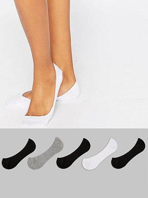 ASOS DESIGN 5-pack popstrumpor Svart/vit/grå