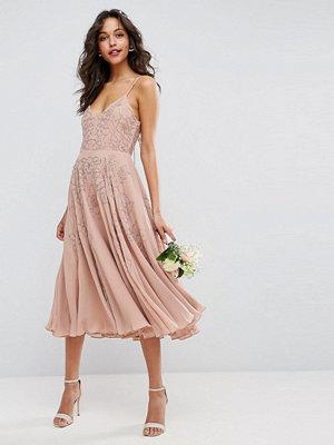 ASOS DESIGN Bridesmaid embellished cami strappy midi dress - Nude